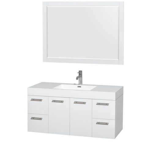 Wyndham Collection Amare 47 In Vanity In Glossy White With Acrylic Resin Vanity Top I Single Sink Bathroom Vanity White Vanity Bathroom Double Vanity Bathroom