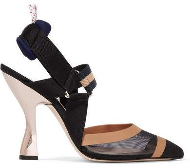 ccbd53623 Fendi - Mesh, Canvas And Rubber Slingback Pumps - Cream | Fashion ...