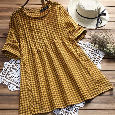 Vintage Plaid Print Loose Half Sleeve O-neck Blouses For Women Cheap - NewChic Mobile