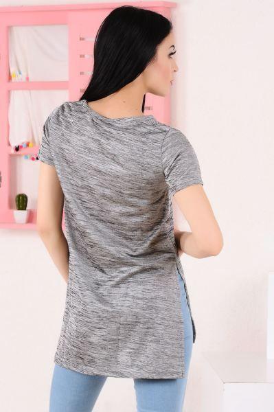 Bayan Tisort V Yaka Kesikli Uzun Gri T Shirt Dikis Gunluk Butik Kapali Klasik Modern Kislik Elbise Firsat Cool Kiz Sik Komb V Yaka Elbise Tisort