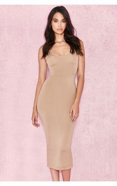 e21a210fb214 Clothing : Bodycon Dresses : 'Tomlin' Tan Midi Length Vest Dress ...