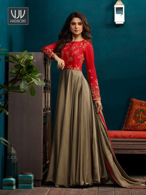c790f6c47a5eee VJV Fashions presenting Jennifer Winget Grey Color Silk Designer Anarkali  Suit shop from our biggest collection of designer salwar suit, party wear  salwar