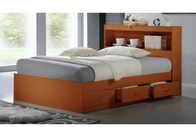 Viv Rae Keira Platform Bed With Drawers And Bookcase Bed Frame Color In 2020 Platform Bed With Drawers Bed With Drawers Full Bed With Storage