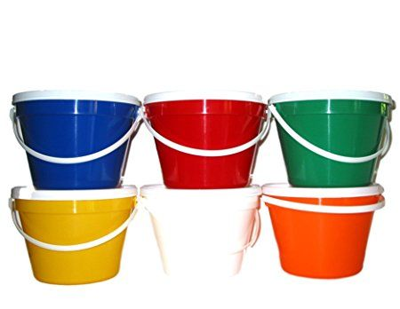 Talisman Plastic Buckets Lids Gallon 6 Pack Red Blue Yellow Green Orange White Review Red Blue Yellow Color Mixing Orange