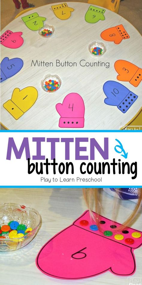 This is a great preschool activity to practice counting and number identification to This is also a great activity to practice one-to-one correspondence and fine motor skills. Mitten button counting is the perfect preschool math center for wintertime. Preschool Learning Activities, Preschool Lessons, Preschool Crafts, Toddler Activities, Montessori Preschool, Montessori Elementary, Christmas Activities For Preschoolers, Winter Preschool Activities, January Preschool Themes