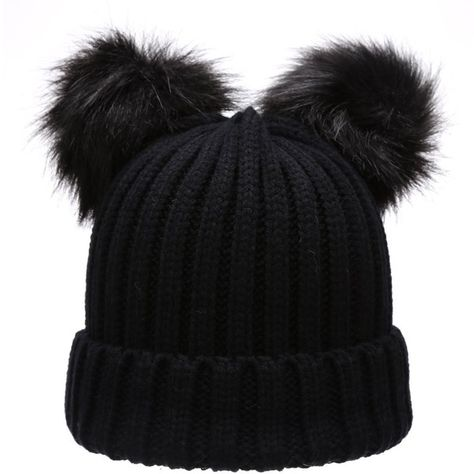 847ad7f554367c Women's Winter Chunky Knit Double Pom Pom Beanie Hat With MIRMARU Hair... (