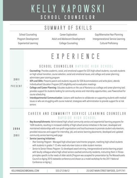 graphic resume sample for school counselor #resume #template #2017 - school counselor resume