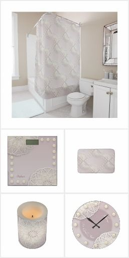 Shabby Chic Bath Shower Sets Collection Shabbychic Doilies Lace