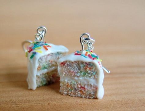 Cake Earrings Funfetti Rainbow Cake Miniature Food Jewelry - Food Jewelry on…