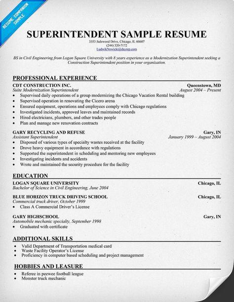 Superintendent Resume (resumecompanion) #police Resume - superintendent resume