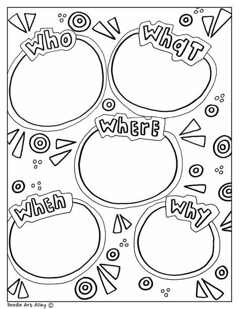 Fun printable, coloring Graphic Organizers at Classroom Doodles from Doodle Art . - Fun printable, coloring Graphic Organizers at Classroom Doodles from Doodle Art Alley. Free and per - Creative Graphic Organizer, Writing Graphic Organizers, Organization Station, Classroom Organization, Sketch Notes, Math Notebooks, Mind Maps, Art Classroom, Writing Activities