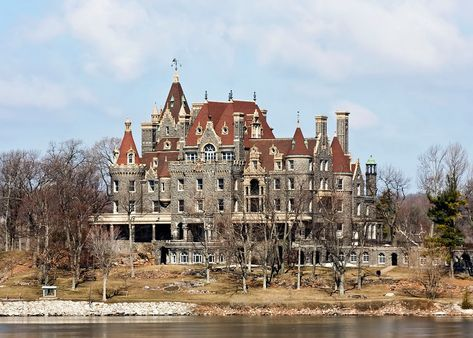 Boldt Castle, Heart Island, NY George Boldt bought the island, shaped it into a heart and built a castle on it for his wife, his wife died in 1904 and he abandoned the project completely.