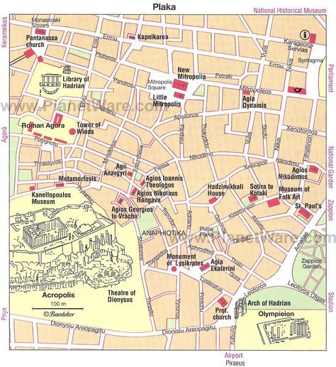 Athens Plaka Map Tourist Attractions Athens Tourist Map