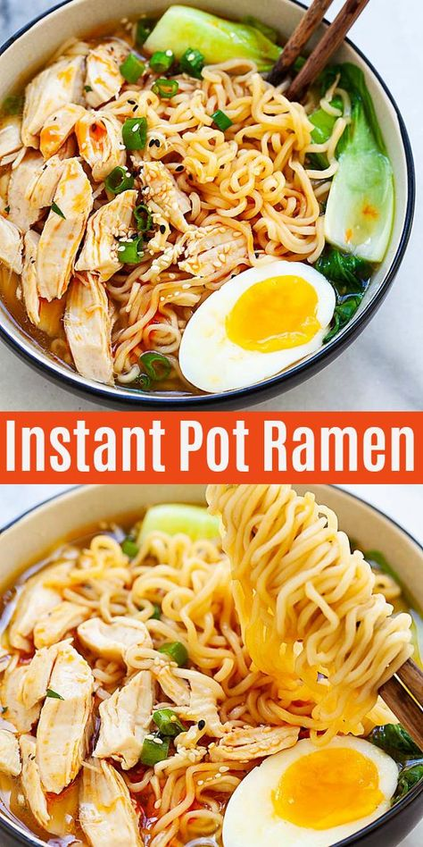 Instant Pot ramen with chicken, ramen eggs and vegetables. So delicious and so easy to make, takes only 10 mins pressure cooking and dinner is done   rasamalaysia.com #instantpot #instantpotrecipes #ramen #dinner