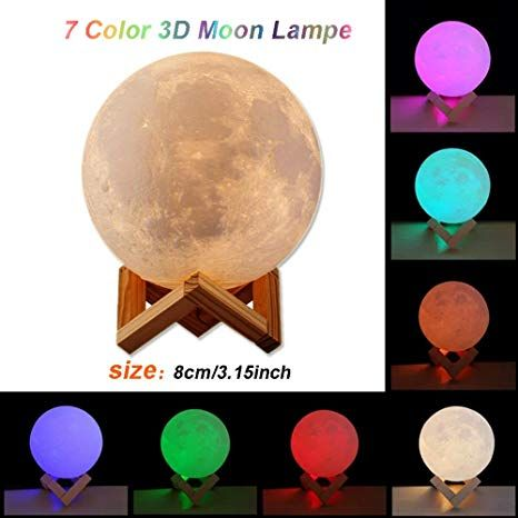 Xinlands 3d Printing Moon Lamp 7 Colors Change Moon Night Lamp Usb Rechargerable Lunar Light Home Decor Romantic Gift With Wooden Mount Stand 7 Color Led Night Lamp Night Lamps Dinning Room Decor