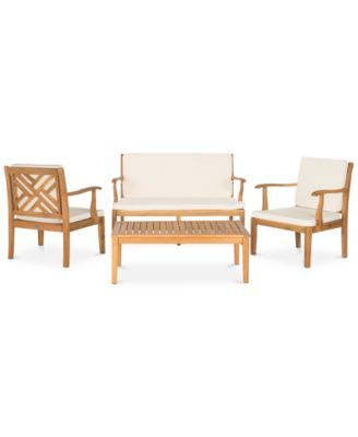 Enjoyable Glendyn Outdoor 4 Pc Seating Set 1 Loveseat 2 Chairs 1 Machost Co Dining Chair Design Ideas Machostcouk