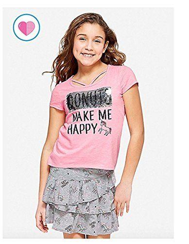 Justice Tee Shirt Flip Sequins Criss Cross Unicorn Donut Make Me Happy Justice Tees Cross Tee Girls Tshirts