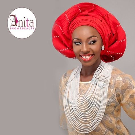 Nigerian wedding red sanya aso-oke by Molbaks makeup by Anita brows beauty, beads by Gee Balo photo by Tap studios 4