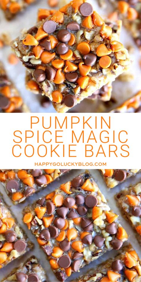 Delicious Pumpkin Spice Magic Cookie Bars Recipe Looking for a fabulous pumpkin spice dessert that's. Mini Desserts, Fall Desserts, Delicious Desserts, Dessert Recipes, Yummy Food, Cookie Desserts, Health Desserts, Recipes Dinner, Cake Recipes