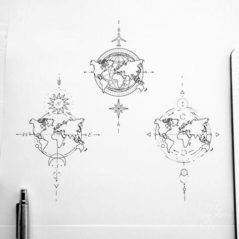 "© Tattoo Artist Fedor Nozdrin on Instagram: ""Available designs. . . . . #geometrictattoo #geometrictattoodesign #worldmap #worldmaptattoo #travelingtattoo #tinylines #tinytattoo…"""