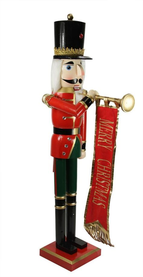 Red, Blue and Gold Wooden Christmas Nutcracker Soldier with Banner - 32258310