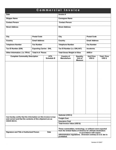 Dhl Commercial Invoice Template Uk With Images Invoice