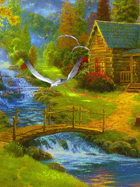 Гифка река в деревне, сделать открытку день