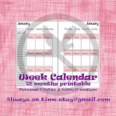 Week calendar personal size! On Etsy https://www.etsy.com/it/listing/240488519/refill-calendario-settimanale-di-tutti-e