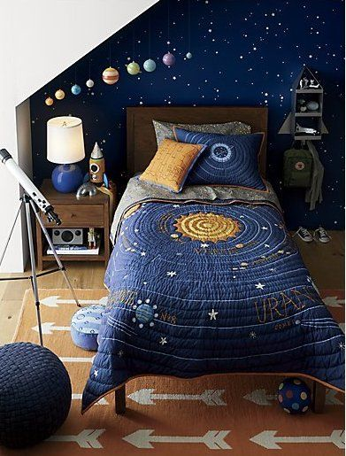 Kids Blue Solar System Bedding Crate And Barrel Space Themed Bedroom Outer Space Bedroom Space Themed Room