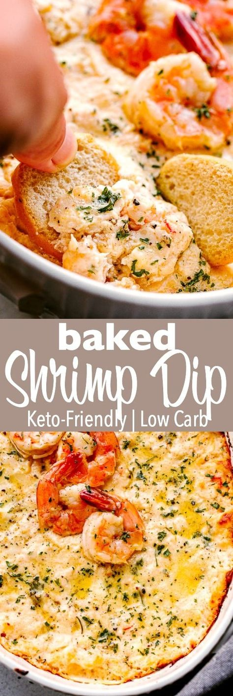 Baked Shrimp Dip - Hot, garlicky, cheesy, and super creamy Shrimp Dip perfect for a New Year's Eve party or Game Day gathering! This makes a delicious hot appetizer that your guests will devour in seconds. #shrimp #cheese #dip #keto #lowcarb #appetizers