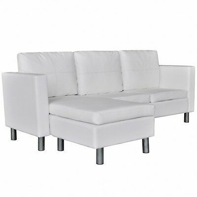 White Sectional Sofa Faux Leather Pillows Cushions Chaise Lounge Couch Home Set 724597402015 Ebay In 2020 White Sectional Sofa Sectional Sofa Leather Sectional Sofas