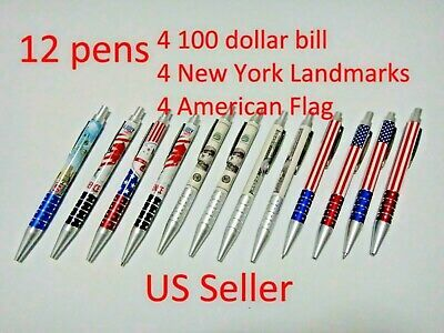 12x Black Ballpoint Pen 100 Bill New
