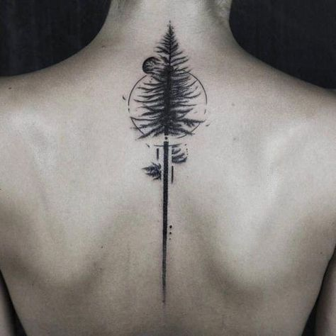 Tree Tattoo – Back pine tattoo by Gavor Zolyomi #GaborZolyomi #FatumTattoo #blackwork #illustr…