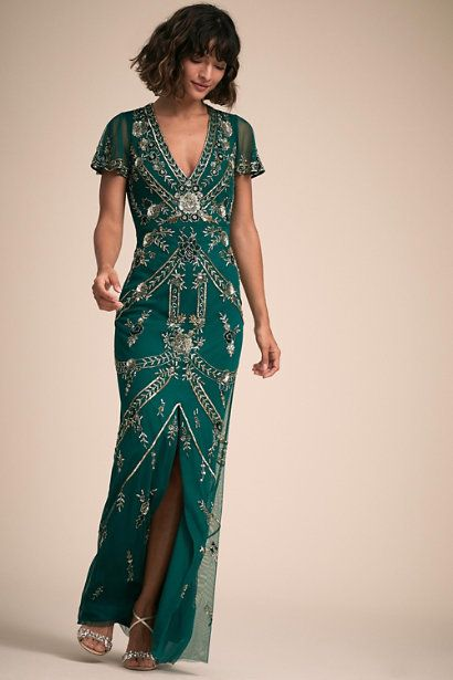 Elegant Art Deco Green Egyptian Inspired Evening Gown Art Deco Bridesmaid Dresses Green Boho Dress Deco Dress
