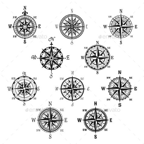 Vintage Compass and Wind Rose Isolated Symbol Set - Decorative Symbols Decorative