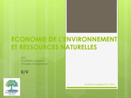 Economie De L Environnement Et Ressources Naturelles Economie Etude D Impact Enseignement