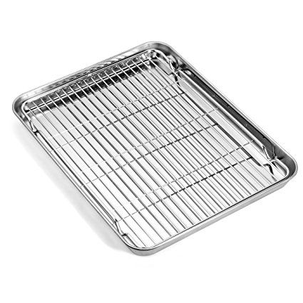 Baking Sheets And Rack Set Zacfton Cookie Pan With Nonstick Cooling Rack Cookie Sheets Rectangle Size 1 Kids Baking Supplies Baking Sheets Toaster Oven Pans