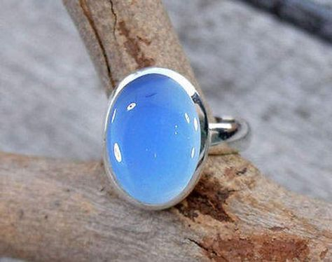 925 Sterling Silver Blue Aqua Chalcedony Ring Stone Ring Girl Women All Size