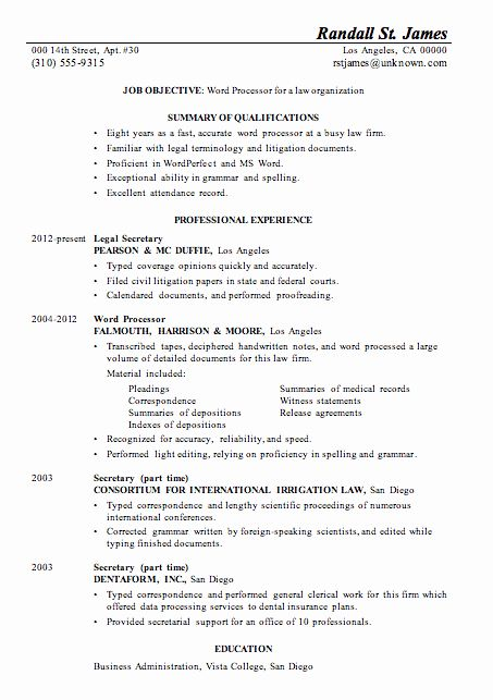 Legal Resume Template Word Inspirational Resume Sample Word Processor For Law Firsm Job Resume Template Resume Template Word Resume Words