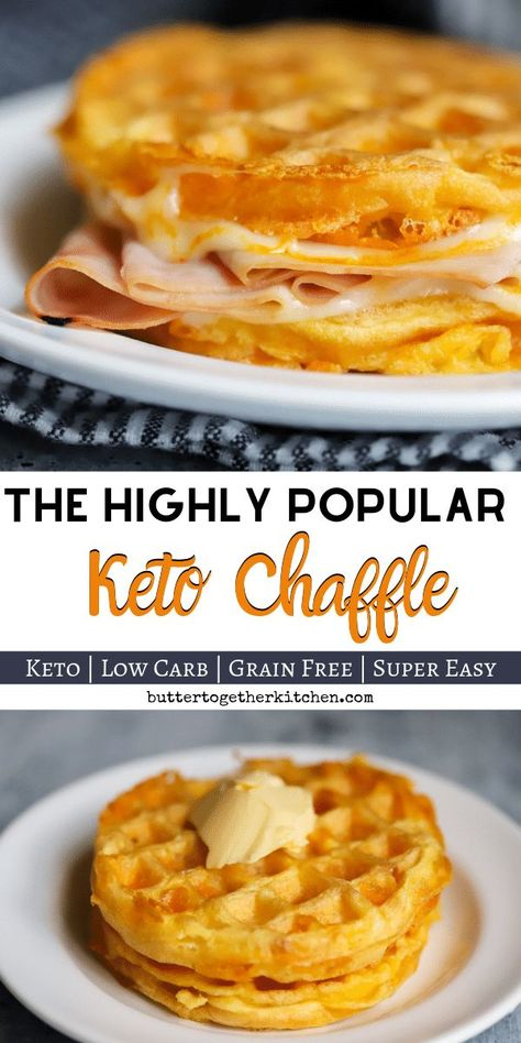 Highly popular cheese waffles are delicious and can be made in a variety of different ways! Very low in carbs and great for sandwiches! A great bread substitute for those on a keto diet. Plus, these chaffles are grain free! #ketochaffle #ketobread #ketosandwich #chaffle #lowcarb #keto #ketodiet