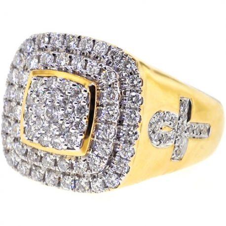 eb7a4952aa10c 14K Yellow Gold 1.77 ct Diamond Ankh Cross Mens Ring in 2019 | Rings ...