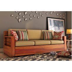 Buy Marriott 3 Seater Wooden Sofa Honey Finish Online In India Wooden Street In 2020 Wooden Sofa Living Room Sofa Design Wooden Sofa Set