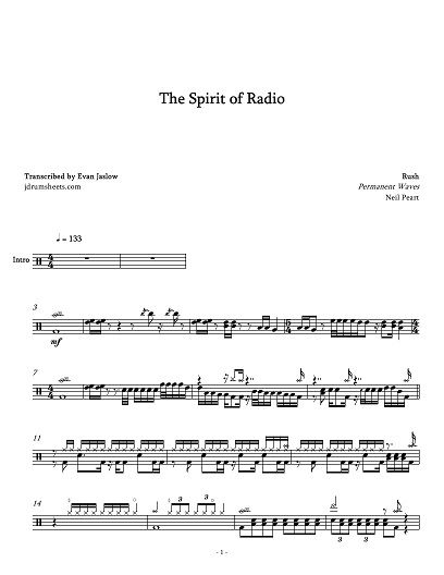 Rush The Spirit Of Radio Drums Sheet Drum Lessons Drum Sheet Music