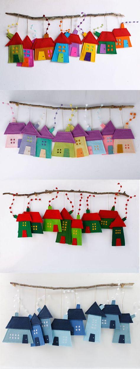 Felt House ornaments to hang. Four models. Felt House ornaments to hang. Four models. The post Felt House ornaments to hang. Four models. Art Wall Kids, Art For Kids, Crafts For Kids, Arts And Crafts, Childrens Wall Art, Art Children, Kids Fun, House Ornaments, Felt Ornaments