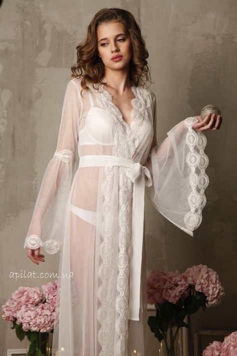 37a5319b5f2 Lace-trimmed Tulle Bridal Robe F10Lingerie Nightdress