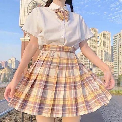 JK Skirts Women 2020 Summer High Waist Skirts Korean Style Pleated Skirts for Girls Cute Sweet Ladies Plaid Mini Skirt Women New - 1 3 / M