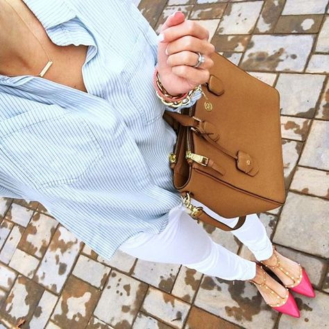 IG @mrscasual <click through to shop this look> striped chambray.  White skinny jeans.  Tory burch robinson tote.  pink studded flats.