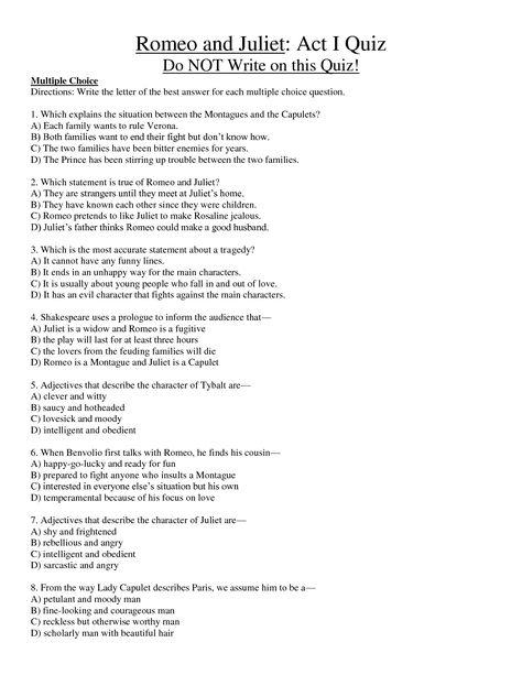 Romeo And Juliet Act 1 Quiz Freshmen Texts And Materials