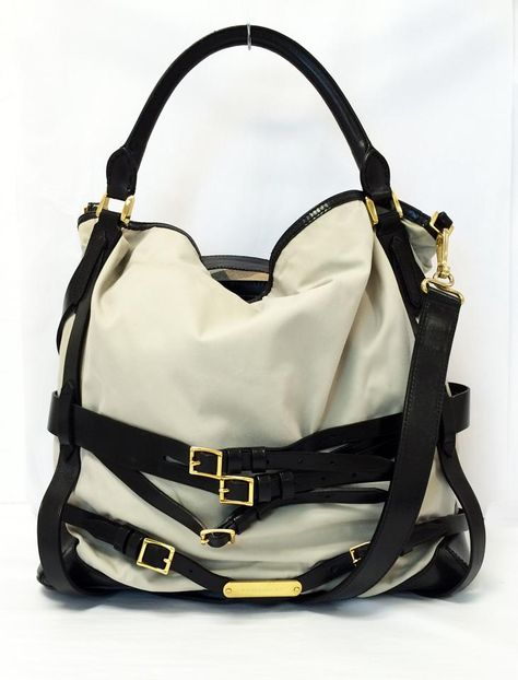 6ce4aa495 Burberry Gosford Bridle Hobo Tote in Ecru Gray White