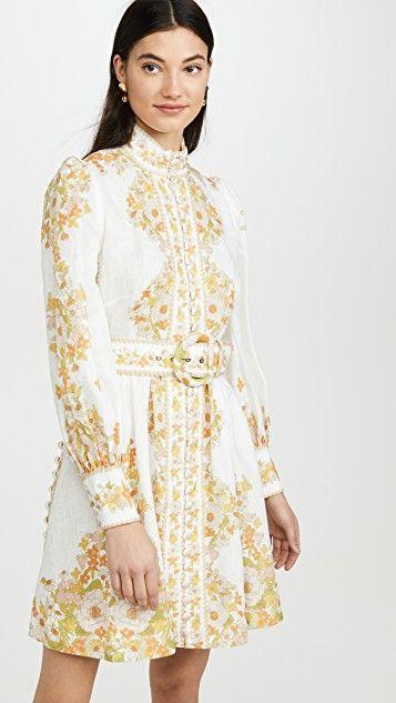 Zimmermann Super Eight Tubular Mini Dress Mini Dress Dresses Printed Mini Dress